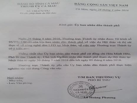 TP Cà Mau đưa ra giấy phép đi nước ngoài của chủ tịch  - ảnh 2