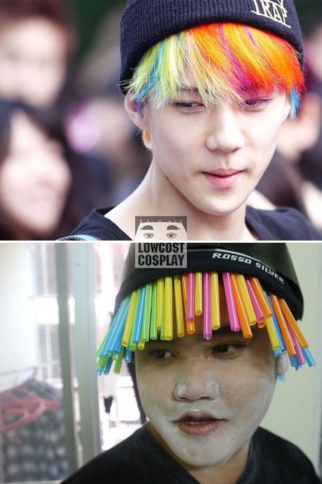 Ngôi sao Hàn Quốc Sehun chắc hẳn phải phì cười khi mái tóc cầu vồng của mình được thay bằng loạt ống hút đa màu sắc.