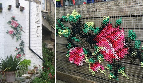 Lạ mắt với những bức tranh đường phố thêu chữ thập - ảnh 5