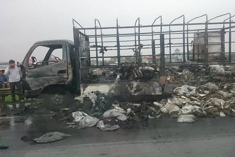 Xe tải chở giày dép bốc cháy ngùn ngụt trên quốc lộ - ảnh 3