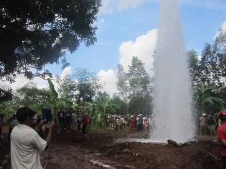 Bà Rịa - Vũng Tàu: Kỳ lạ nước giếng phun mạnh hơn 20 m khỏi mặt đất - ảnh 1