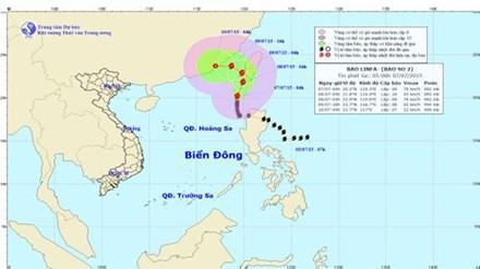 Dự báo đường đi và khu vực ảnh hưởng của bão số 2. Ảnh: Trung tâm Dự báo khí tượng thủy văn TƯ.