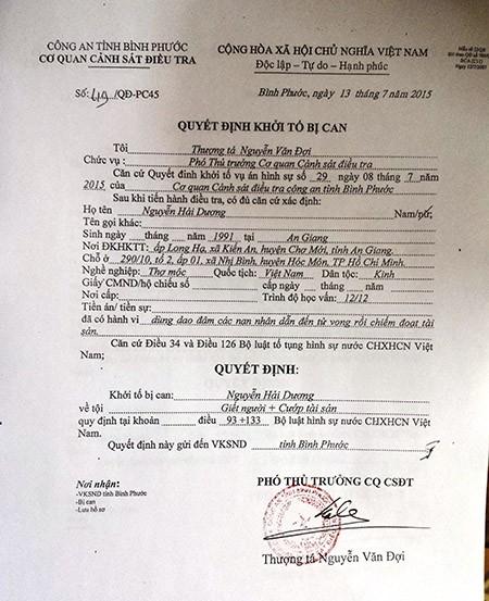 Thảm sát Bình Phước: VKS đã phê chuẩn quyết định khởi tố 2nghi can - ảnh 1