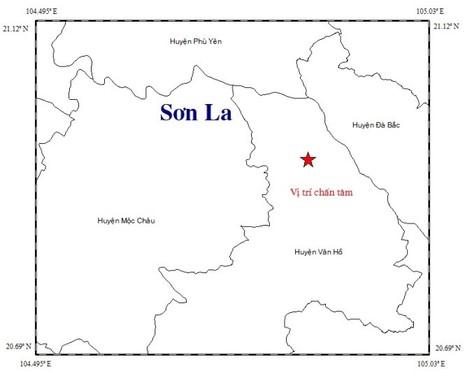 Vị trí xảy ra động đất tại huyện Vân Hồ, tỉnh Sơn La- ảnh Trung tâm báo tin động đất và cảnh báo sóng thần