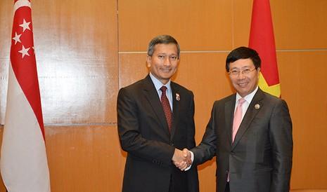 Phó Thủ tướng, Bộ trưởng Ngoại giao Phạm Bình Minh hội đàm với Bộ trưởng Ngoại giao Singapore Vivian Balakrishnan tại Trung tâm hội nghị Kuala Lumpur ngày 20-11 - Ảnh: Q. Trung