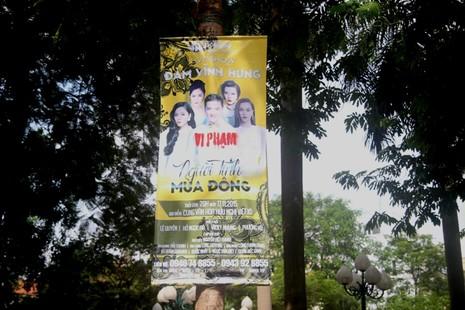 Băng rôn quảng cáo Đàm Vĩnh Hưng bị đóng dấu 'vi phạm' - ảnh 1