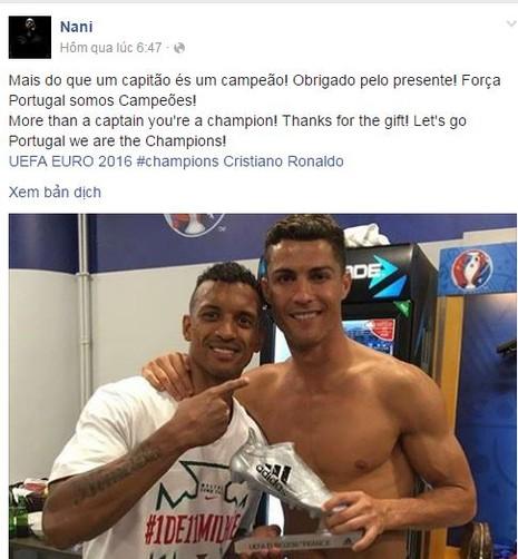 Nani sung sướng vì được Ronaldo tặng giày bạc - ảnh 1