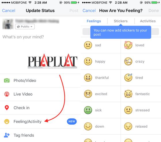 Tính năng Stickers chỉ mới có trên phiên bản Facebook cho iOS