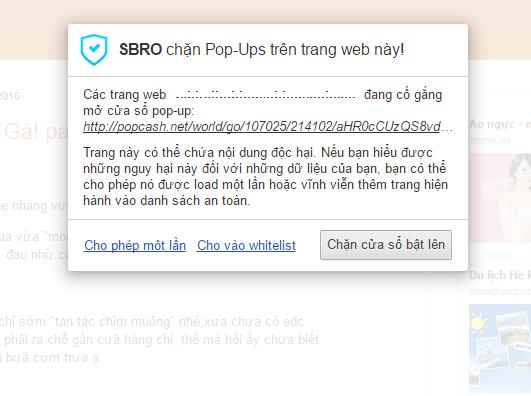 SBRO Safe Browsing sẽ tự động chặn quảng cáo độc hại