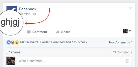 Đoạn status vô nghĩa được đăng tải trang Facebook UK