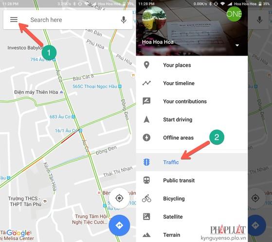 google maps cảnh báo kẹt xe