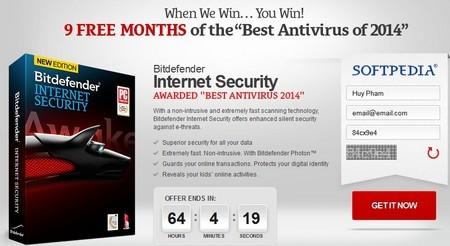 Bản quyền miễn phí phần mềm bảo mật danh tiếng Bitdefender Internet Security 2014