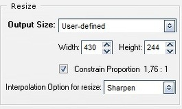 Bảng bên phải cho phép thiết lập thông số của ảnh động sau khi trích xuất từ đoạn video.