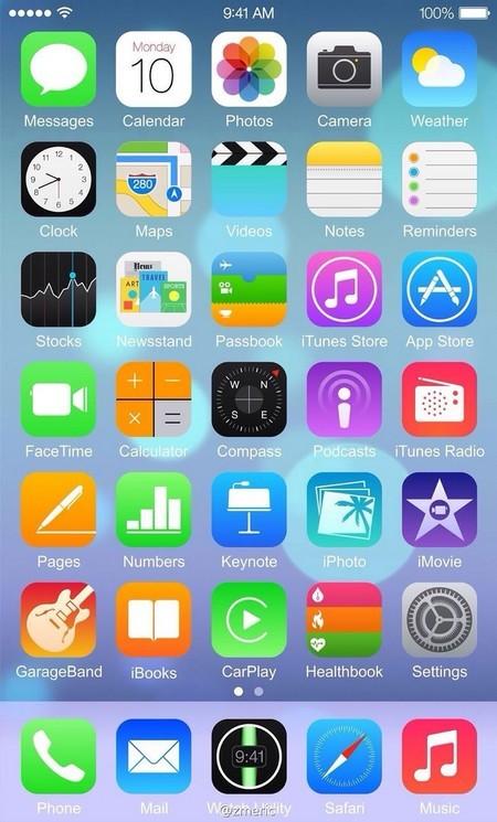 Ảnh được cho là nền tảng iOS 8 đang hoạt động trên iPhone 6 (nhấn vào ảnh để xem đúng kích cỡ)