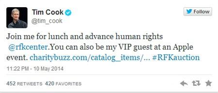 Trên trang Twitter của mình, Tim Cook đã cập nhật thêm quyền lợi cho người tham gia đấu giá.