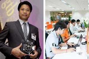 Đại diện của FPT IS lên nhận giải (trái) và các kỹ sư của FPT. (Nguồn: FPT)