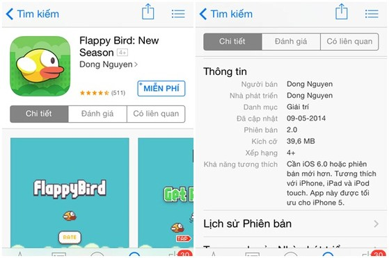 Flappy Bird, ứng dụng nhái, ứng dụng, Nguyễn Hà Đông, nhà phát triển, xếp hạng