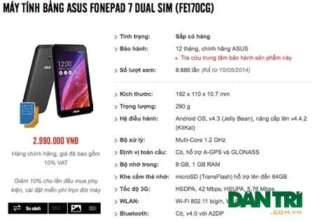 Một chuỗi bán lẻ tại TPHCM niêm yết giá bán dành cho tablet mới của Asus.
