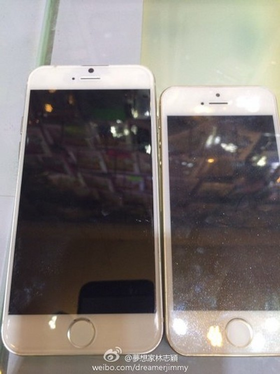Hình ảnh so sánh iPhone 6 với iPhone 5 được Lâm Chí Dĩnh chia sẻ.