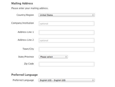 Lựa chọn quốc gia/vùng và ngôn ngữ hiển thị