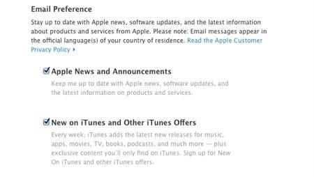 Lựa chọn thêm các thông báo từ Apple hoặc các chương trình khuyến mãi trên iTunes