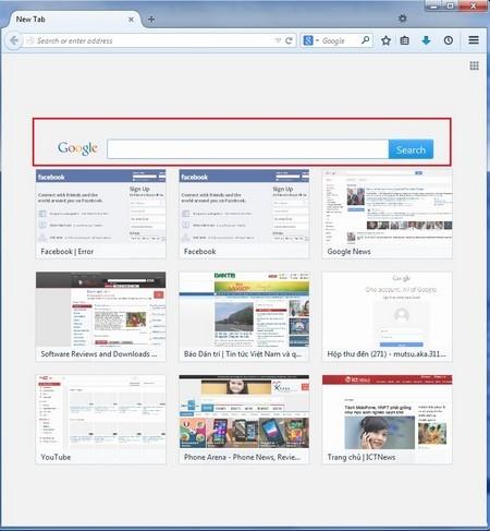 Giao diện trang tab mới được trang bị thêm thanh tìm kiếm của Google