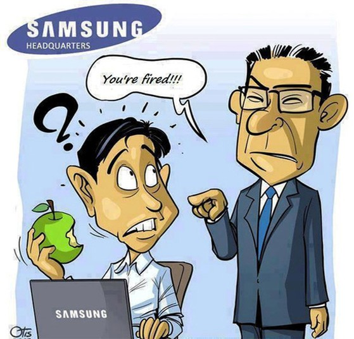 Ảnh vui: Nhân viên Samsung bị sa thải vì lỡ cầm quả táo cắn dở.