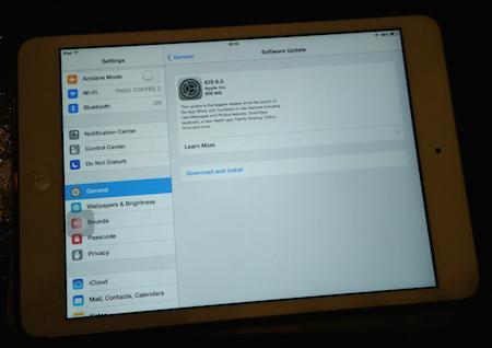 iPad mini và bản cập nhật iOS 8