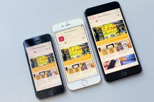 iPhone 6 (giữa) màn hình 4,7 inch có kích thước hợp lý hơn so với 6 Plus bên phải.