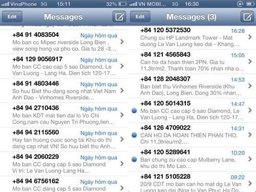 spam, tin nhắn rác, rao bán, bất động sản, BĐS, thuê bao, VinaPhone, MobiFone, dội bom,