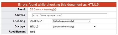Trang chủ của Google đến nay vẫn còn tồn tại một vài lỗi HTML