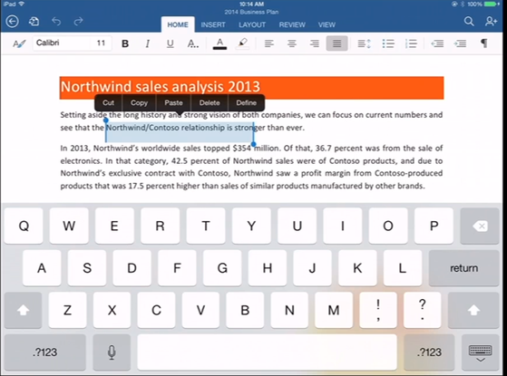 Microsoft Office cho iPad