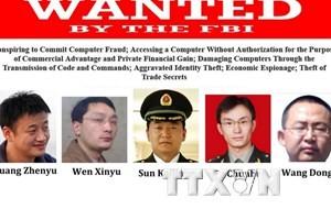 Ảnh do Cục điều tra Liên bang Mỹ (FBI) cung cấp về 5 chuyên gia tin học Trung Quốc bị buộc tội hoạt động gián điệp mạng. (Nguồn: AFP/TTXVN)
