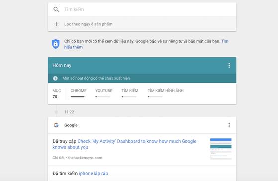 My Activity liệt kê đầy đủ các thông tin mà người dùng tìm kiếm