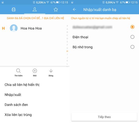 Chép danh bạ từ máy sang SIM trên Android