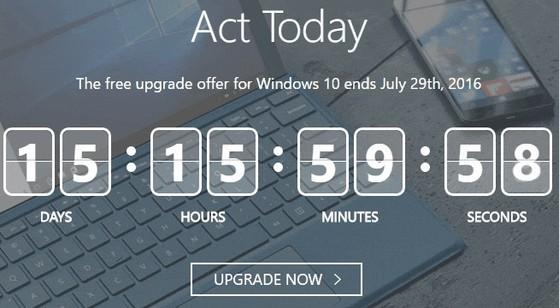 Windows 10 upgrade timer