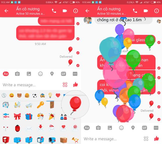 Xuất hiện hiệu ứng khi gửi biểu tượng bong bóng trên Messenger