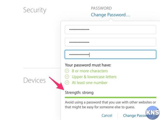 đổi mật khẩu icloud