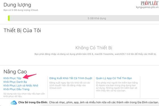 Mẹo khôi phục dữ liệu đã xóa trên iCloud