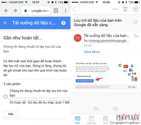 Cách tải toàn bộ email, hình ảnh, danh bạ trên Google