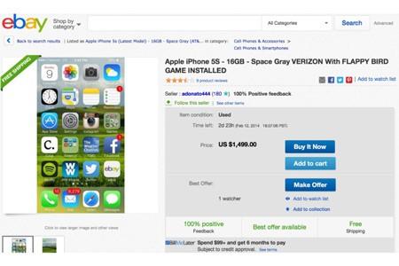 iPhone 5S cài Flappy Bird được rao bán với giá 1.499 USD.