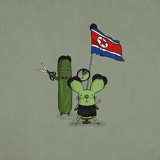 2 nhân vật hoạt hình Rabtus và Cumber cũng đi theo đường lối cắt tóc của nhà lãnh đạo Triều Tiên.