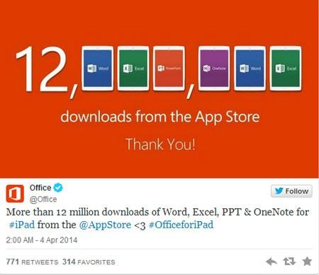 Số lượng tải ấn tượng của bản Office dành cho iPad chỉ sau 1 tuần.