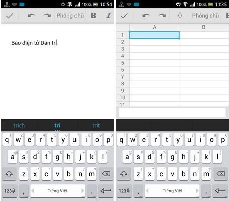 Giao diện ứng dụng Docs và Sheets trên Android