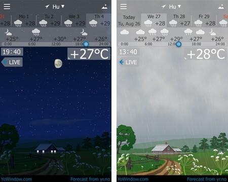 Giao diện khác nhau vào thời điểm tạnh và mưa (giữa ban đêm và ban ngày)