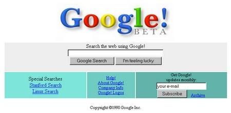 Trang web sơ khai lúc mới thành lập của Google