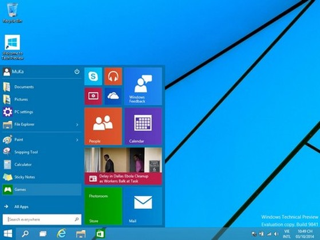 Giao diện Start Menu mới trên Windows 10