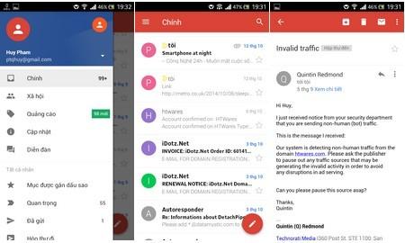 Và giao diện ứng dụng Gmail mới