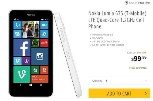 Lumia 635 giảm giá mạng trong mùa mua sắm.