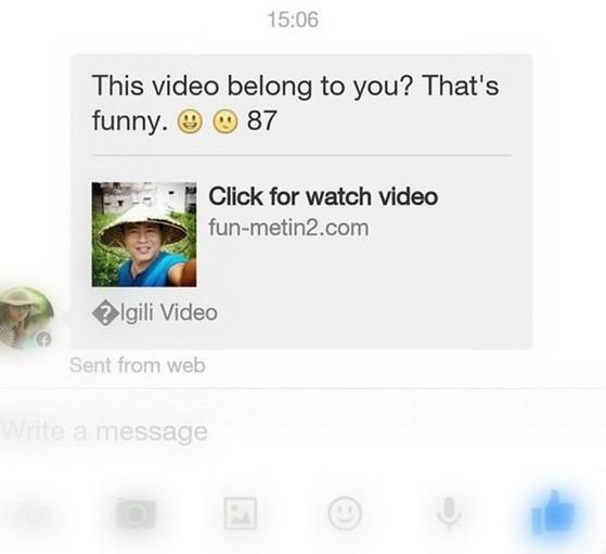 Tin nhắn kèm liên kết video có ảnh đại diện của người nhận - Ảnh: Facebook Anton Dat